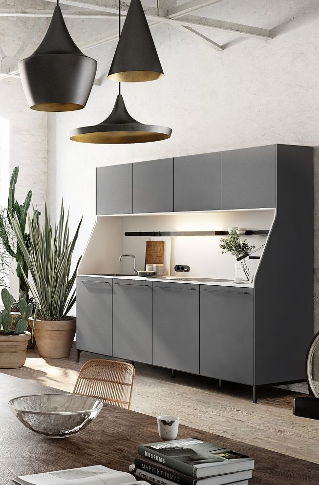 SieMatic 29 kitchen sideboard or buffet from the Urban style collection in graphite grey with sink and stovetop
